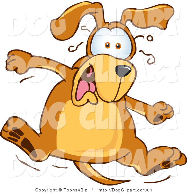 Vector Cartoon Clip Art of a Brown Dog Mascot Cartoon Character Leaping in Shock