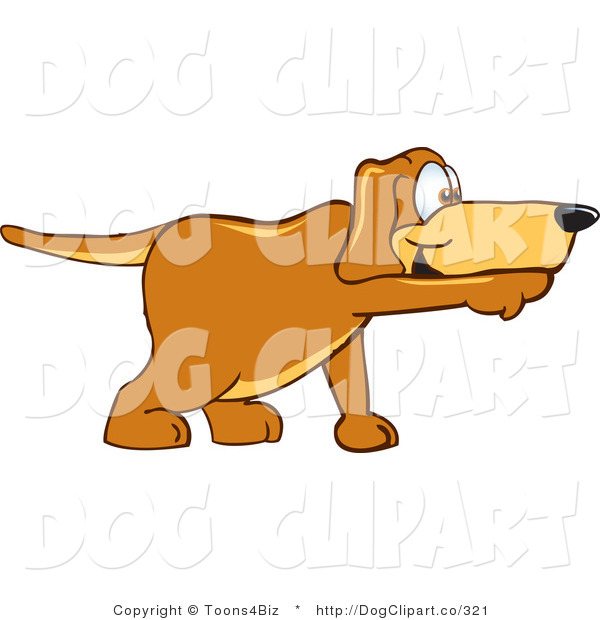 Vector Cartoon Clip Art of a Brown Dog Mascot Cartoon Character Pointing a Finger While Sniffing Something out
