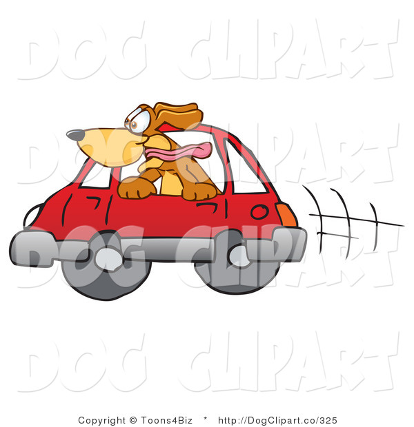 Vector Cartoon Clip Art of a Cheerful Brown Dog Mascot Cartoon Character Sticking His Head out of a Car Window