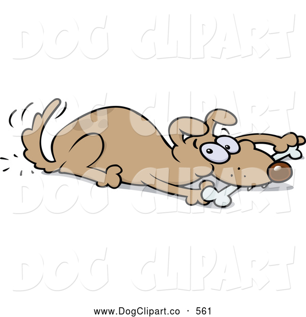 Vector Cartoon Clip Art of a Cute Playful Brown Dog Wagging His Tail and Chewing on a Bone While Laying down