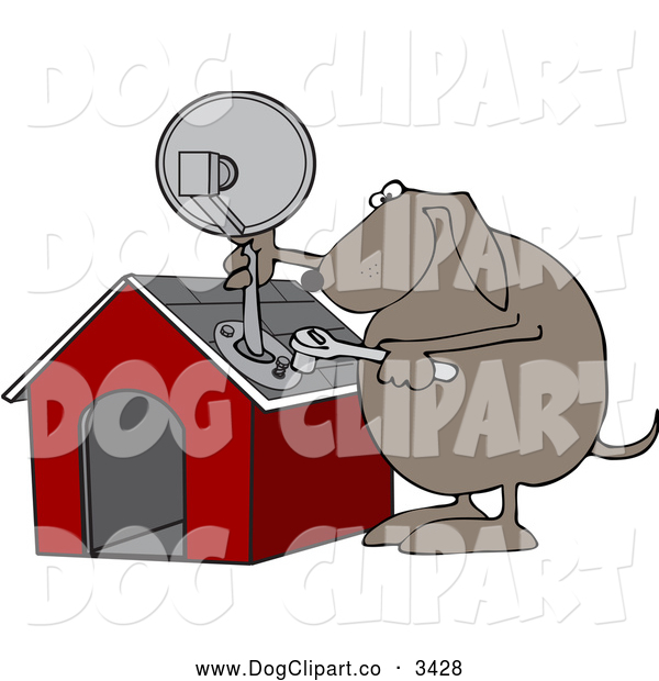 Vector Cartoon Clip Art of a Dog Attaching a Satellite Dish to His House