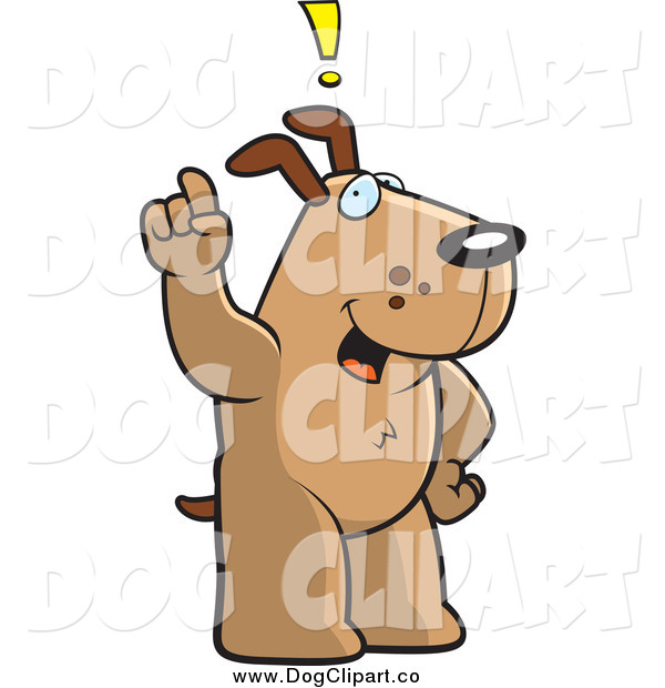 Vector Cartoon Clip Art of a Dog Exclaiming and Holding up a Finger