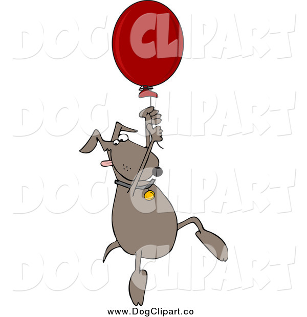 Vector Cartoon Clip Art of a Dog Floating with a Balloon