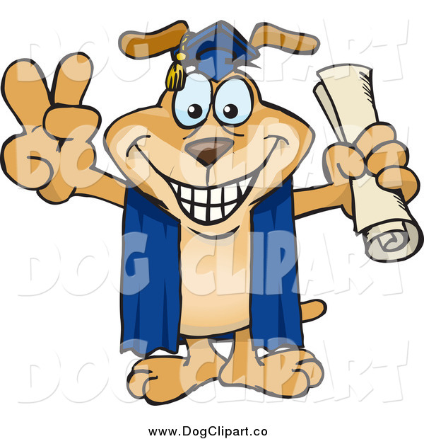 Vector Cartoon Clip Art of a Dog Graduage Holding His Diploma and Gesturing Peace