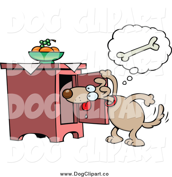 Vector Cartoon Clip Art of a Dog Peeking in a Cabinet for a Bone