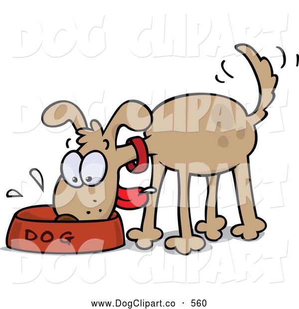 Vector Cartoon Clip Art of a Excited Happy and Hungry Brown Dog Wagging His Tail and Slobbering in His Food Bowl