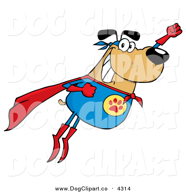 Vector Cartoon Clip Art of a Flying Super Hero Dog Flashing a Smile