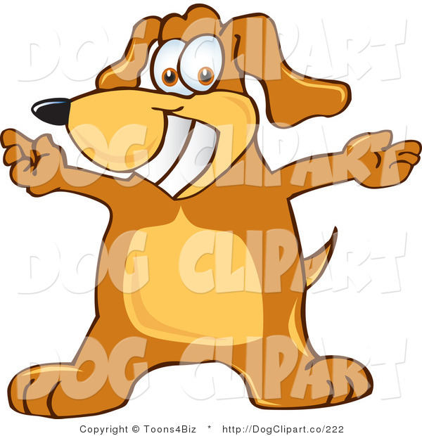 Vector Cartoon Clip Art of a Friendly and Smiling Brown Dog Mascot Cartoon Character with Open Arms for a Hug