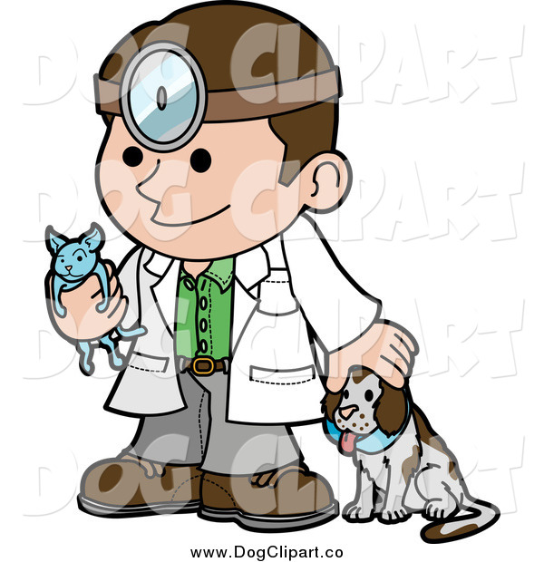 Vector Cartoon Clip Art of a Friendly Male Veterinarian with a Dog and Holding a Cat During a Yearly Exam