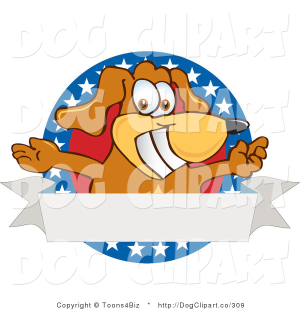 Vector Cartoon Clip Art of a Friendly Patriotic Brown Dog Mascot Cartoon Character with Open Arms with a Blank Label