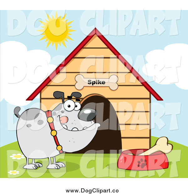 Vector Cartoon Clip Art of a Gray Bulldog with a Bone in His Dish by His Dog House