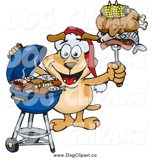 Vector Cartoon Clip Art of a Grilling Dog Wearing a Santa Hat and Holding Food on a BBQ Fork