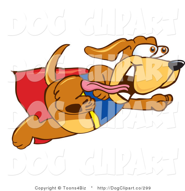 Vector Cartoon Clip Art of a Happy Brown Dog Mascot Cartoon Character Dressed As a Super Hero, Flying