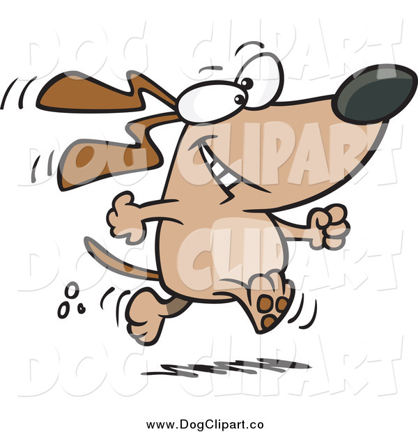 Vector Cartoon Clip Art of a Happy Dog Walking Upright