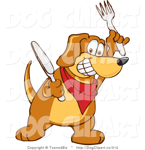 Vector Cartoon Clip Art of a Hungry Brown Dog Mascot Cartoon Character Holding a Knife and Fork, Extremely Hungry