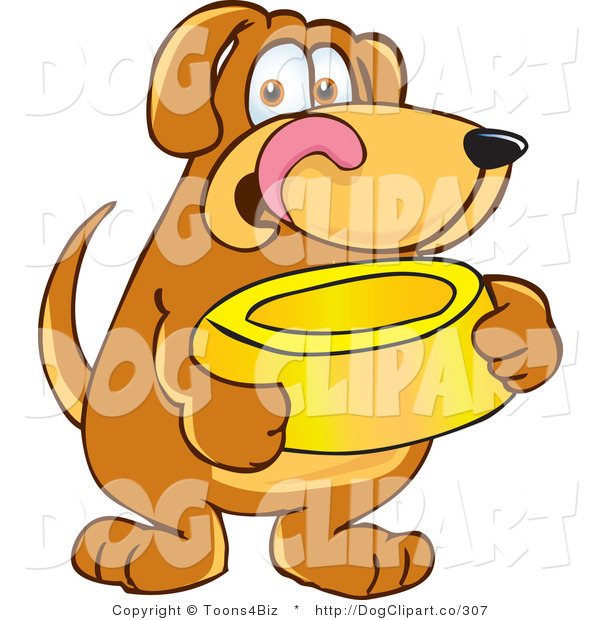 Vector Cartoon Clip Art of a Hungry Brown Dog Mascot Cartoon Character Holding a Yellow Food Dish, Waiting to Be Fed