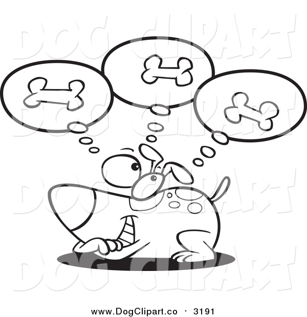 Vector Cartoon Clip Art of a Lineart Dog Day Dreaming of Bones