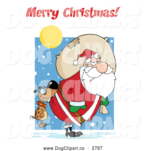 Vector Cartoon Clip Art of a Merry Christmas Greeting over a Dog Biting Santas Butt