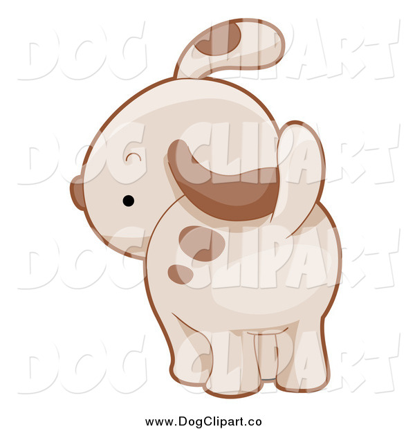 Vector Cartoon Clip Art of a Puppy Dog Looking Back