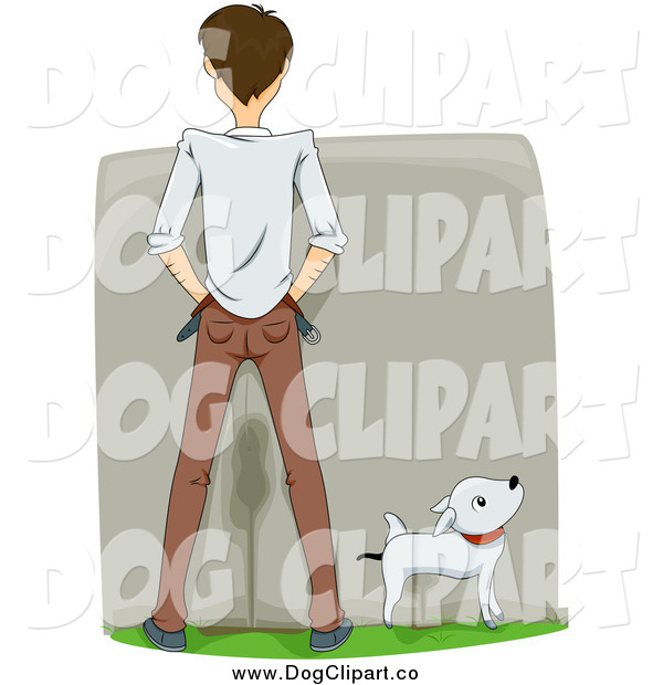 Vector Cartoon Clip Art of a Rear View of a White Man and His Dog Peeing on a Wall