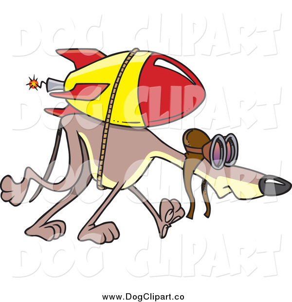 Vector Cartoon Clip Art of a Rocket Strapped to a Slow Greyhound