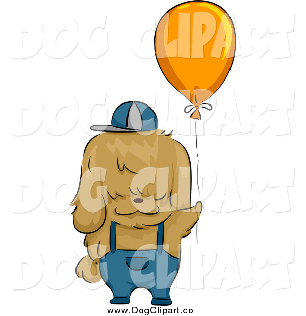 Vector Cartoon Clip Art of a Shih Tzu Dog with a Balloon