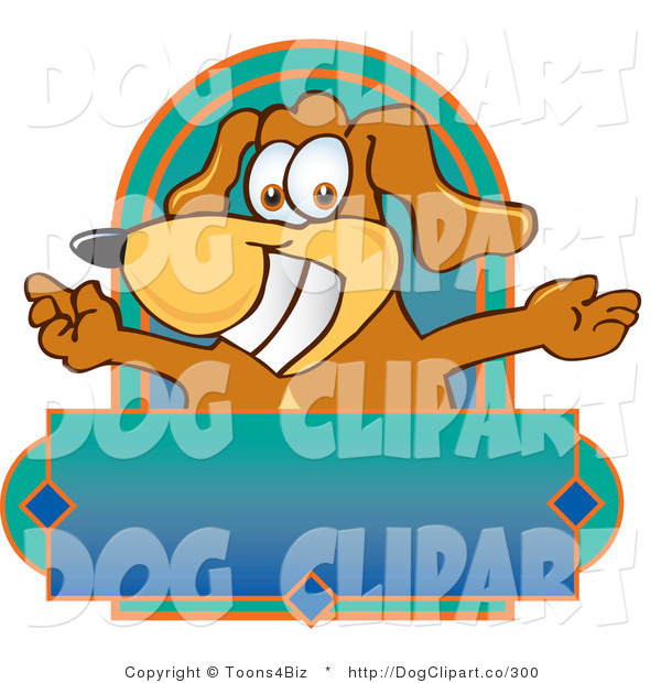 Vector Cartoon Clip Art of a Silly Brown Dog Mascot Cartoon Character with Open Arms Above a Blank Label