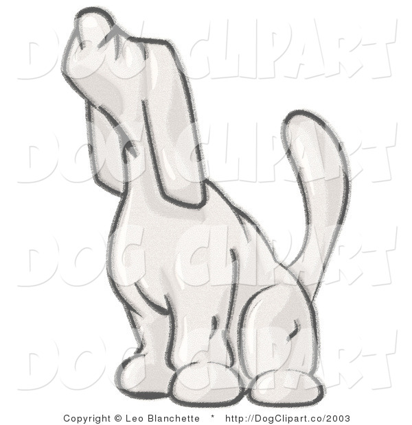 Vector Cartoon Clip Art of a Sketched Design Mascot Hound Sniffing the Air and Facing Left