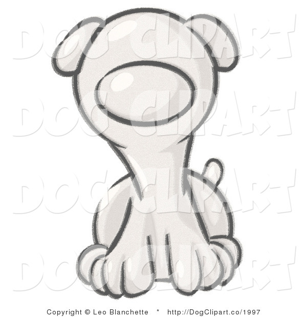 Vector Cartoon Clip Art of a Sketched Puppy Dog Sitting and Facing Ahead