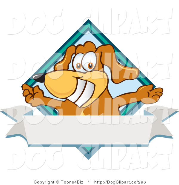 Vector Cartoon Clip Art of a Smiling Happy Brown Dog Mascot Cartoon Character with Open Arms over a Blank White Label