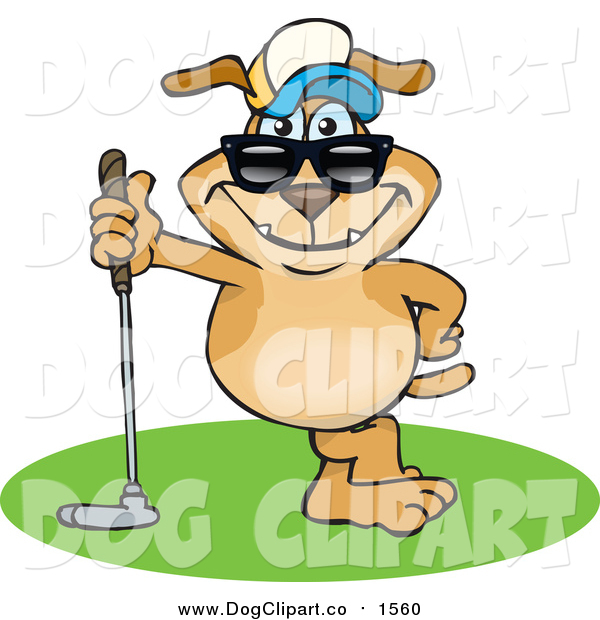 Vector Cartoon Clip Art of a Sporty Dog Leaning on a Golf Club