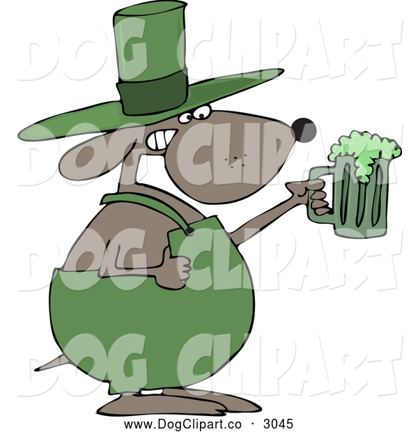 Vector Cartoon Clip Art of a St Patricks Day Dog Holding up a Green Beer