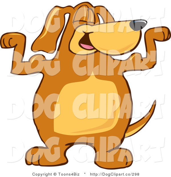 Vector Cartoon Clip Art of a Strong and Happy Brown Dog Mascot Cartoon Character Flexing His Bicep Arm Muscles