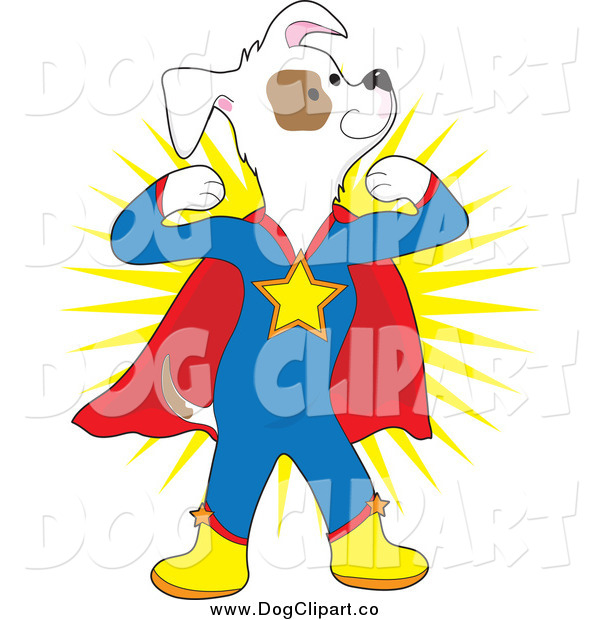 Vector Cartoon Clip Art of a Strong Super Hero Dog Flexing