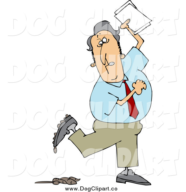 Vector Cartoon Clip Art of a White Businessman Stepping in Dog Poop
