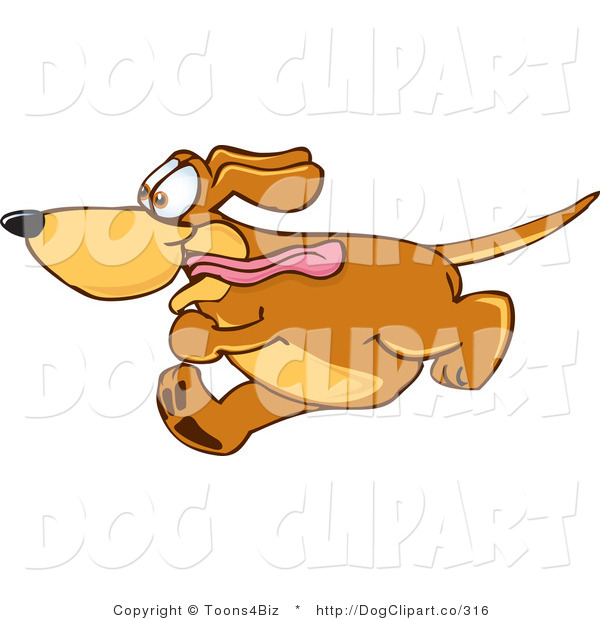 Vector Cartoon Clip Art of an Excited Brown Dog Mascot Cartoon Character Running Obsessively After Something