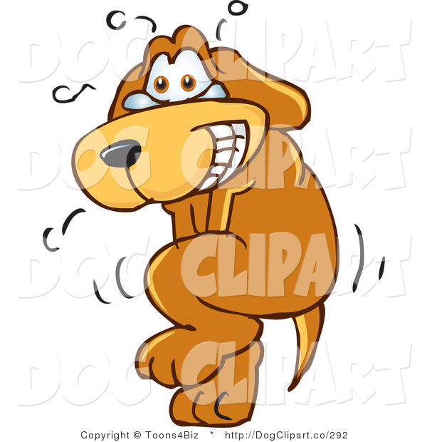Vector Cartoon Clip Art of an Upset Brown Dog Mascot Cartoon Character Trying to Hold It In, but Has to Go Pee