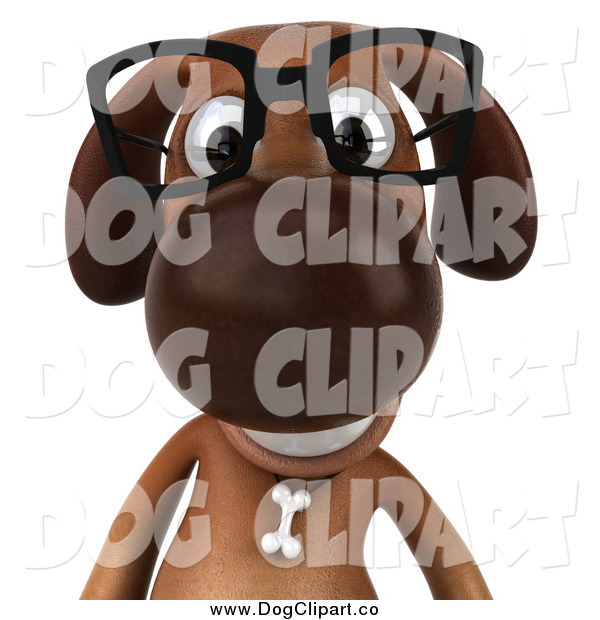 Vector Clip Art of a 3d Brown Dog Wearing Glasses, from the Chest up