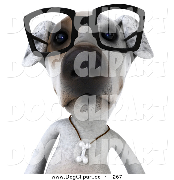 Vector Clip Art of a 3d Jack Russell Terrier Dog Wearing Glasses