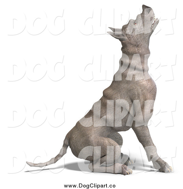 Vector Clip Art of a 3d Rhino like Dog Sitting