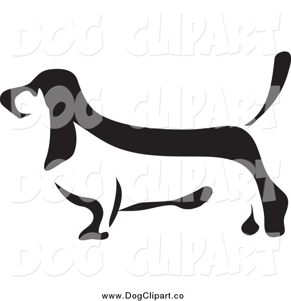 Vector Clip Art of a Basset Hound in Black and White Profile