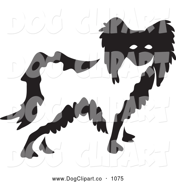 Vector Clip Art of a Black and White Papillon Dog
