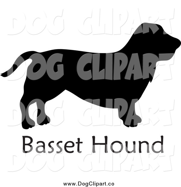 Vector Clip Art of a Black Silhouetted Basset Hound Dog and Text