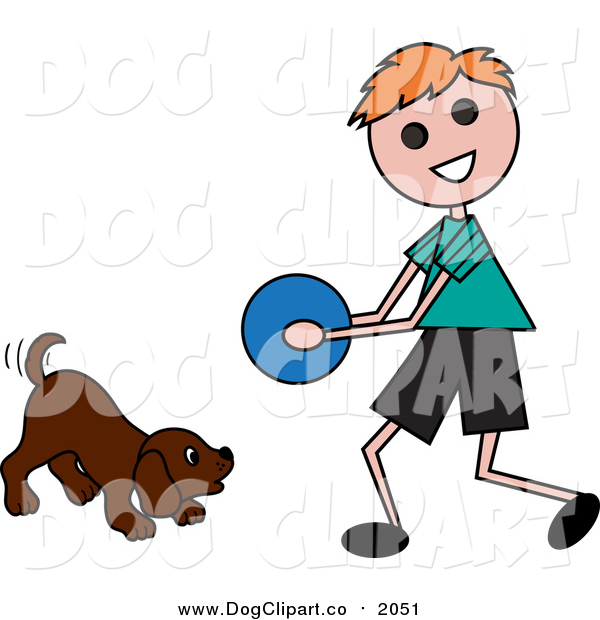 Vector Clip Art of a Boy Playing Ball with a Dog