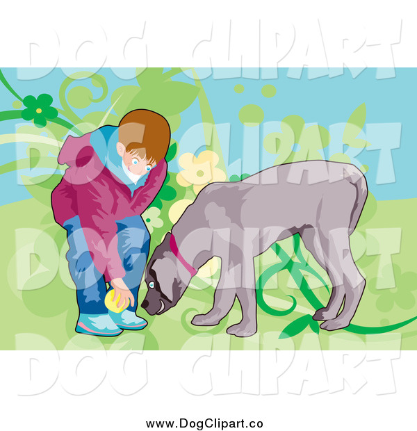 Vector Clip Art of a Boy Playing Fetch with His Dog