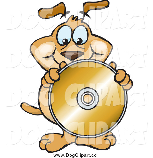 Vector Clip Art of a Brown Dog Holding up and Standing Behind a Blank Gold Cd or Dvd