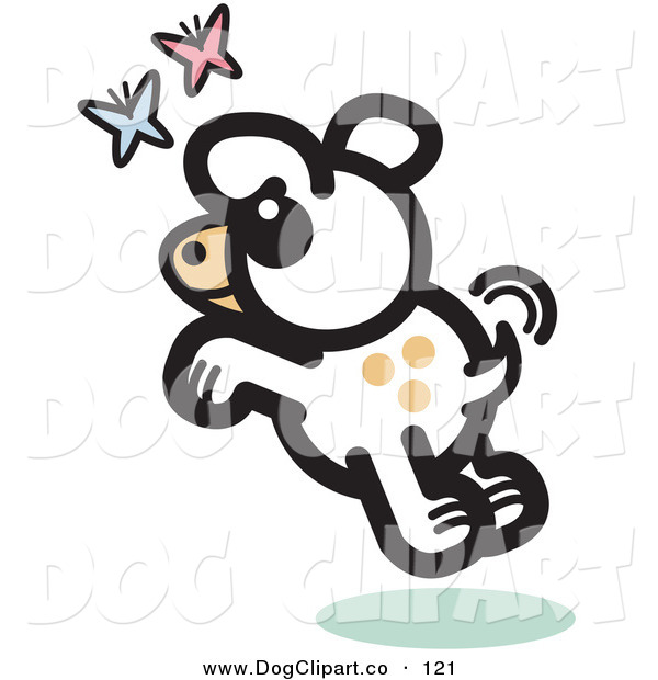 Vector Clip Art of a Carefree Cute White Dog Chasing Pink and Blue Butterflies