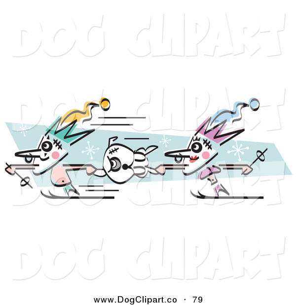 Vector Clip Art of a Couple of Court Jesters Holding onto a Dog and Skiing on White