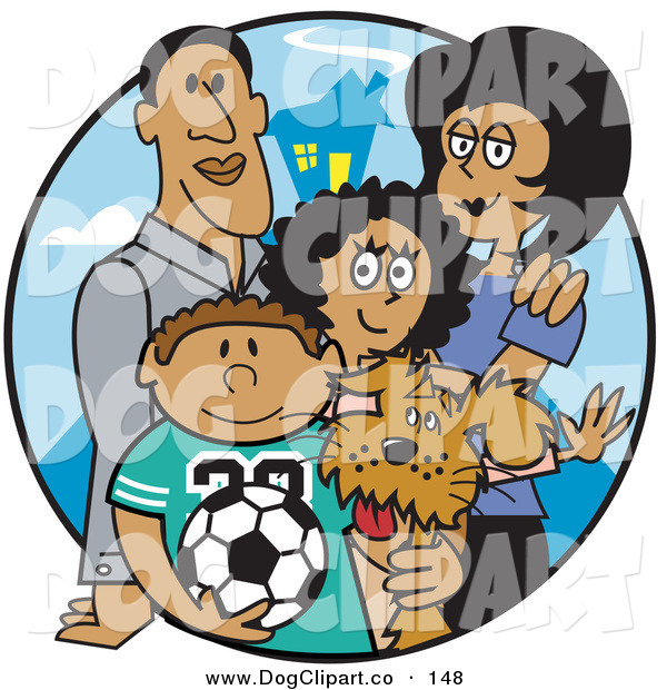 Vector Clip Art of a Couple of Happy Parents Standing with Their Son, Daughter and the Family Dog