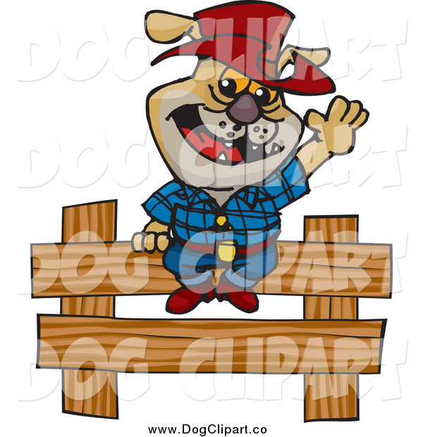 Vector Clip Art of a Cowboy Bulldog Sitting and Waving on a Wooden Fence